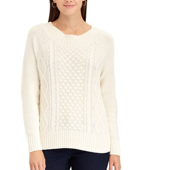 48642c484ae NWT Chaps Cable-Knit Crewneck Sweater Cream XL